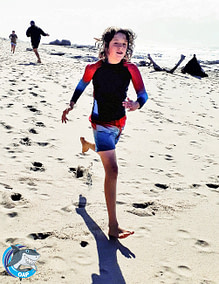 Ethan running on the beach during the OAP session on 7 September 2019