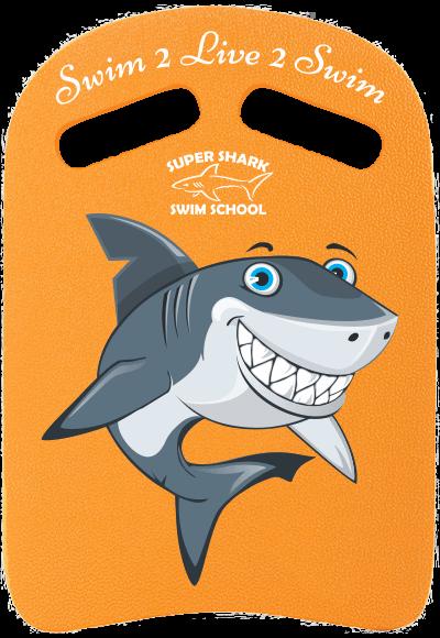 Swim kick board with the Super Shark Swim School logos