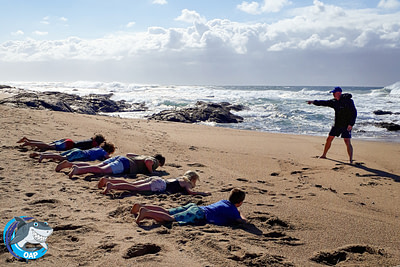 Students training on the beach during the OAP session on 7 September 2019