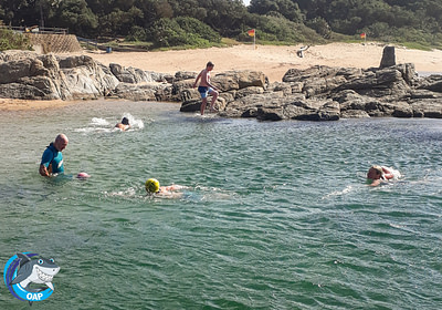 Students swimming in the tidal pool during the OAP session on 7 September 2019