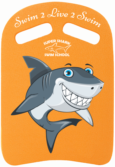 Swim kick board with the Super Shark Swim School logo