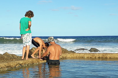 Coach Edward in the tidal pool with students